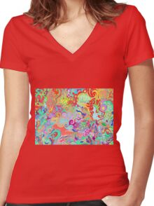 Compass Multi-colour Bold Organic Living Art Design Women's Fitted V-Neck T-Shirt