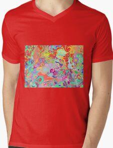 Compass Multi-colour Bold Organic Living Art Design Mens V-Neck T-Shirt
