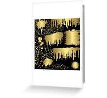 Gold spalter,hand painted,gold on black,abstract,contemporary Greeting Card