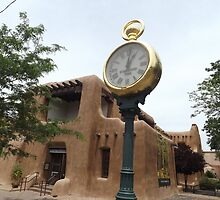 Classic Clock, Adobe Architecture, Santa Fe, New Mexico by lenspiro