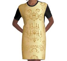 beautiful gold chandelier pattern,chic,elegant,vintage,old style, Graphic T-Shirt Dress