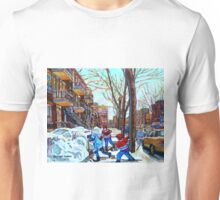 STREET HOCKEY GAME VERDUN MONTREAL MEMORIES WINTER CITY SCENE PAINTINGS  Unisex T-Shirt