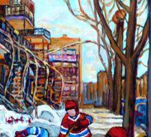 STREET HOCKEY GAME VERDUN MONTREAL MEMORIES WINTER CITY SCENE PAINTINGS  Sticker