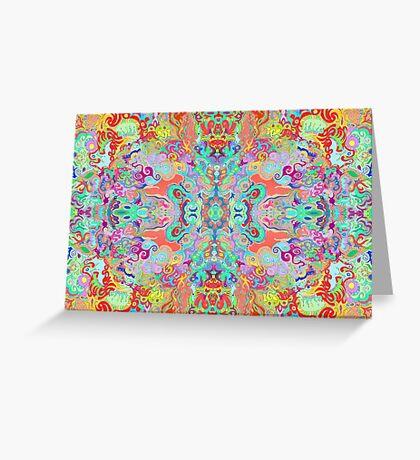 Compass Multi-colour Bold Organic Living Art Design Fractal (Framed) Greeting Card