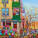 Montreal City Scene Inspecteur Epingle Restaurant  Bar  Family Fun Art by Carole  Spandau
