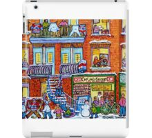 CAPLAN CORNER GROCERY STORE STREET HOCKEY ART WINTER STAIRCASE SCENE  iPad Case/Skin