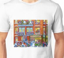 CAPLAN CORNER GROCERY STORE STREET HOCKEY ART WINTER STAIRCASE SCENE  Unisex T-Shirt