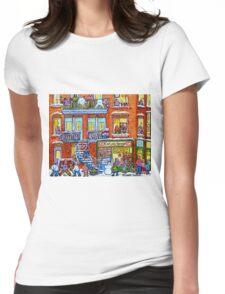 CAPLAN CORNER GROCERY STORE STREET HOCKEY ART WINTER STAIRCASE SCENE  Womens Fitted T-Shirt