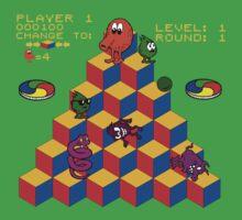 Q*Bert - Video Game, Gamer, Qbert, Orange, Black, Nerd, Geek, Geekery, Nerdy One Piece - Short Sleeve