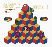Q*Bert - Video Game, Gamer, Qbert, Orange, Black, Nerd, Geek, Geekery, Nerdy Kids Tee