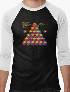 Q*Bert - Video Game, Gamer, Qbert, Orange, Black, Nerd, Geek, Geekery, Nerdy Men's Baseball ¾ T-Shirt