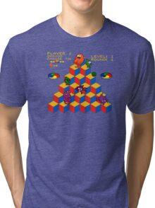 Q*Bert - Video Game, Gamer, Qbert, Orange, Black, Nerd, Geek, Geekery, Nerdy Tri-blend T-Shirt