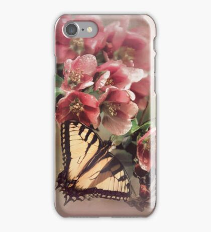 cherry blossoms pink with butterfly iPhone Case/Skin