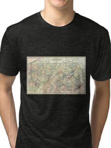 0167 Railroad Maps Rail road map of Pennsylvania published by the Department of Internal Affairs of Pennsylvania Tri-blend T-Shirt
