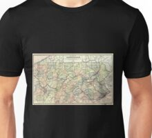 0167 Railroad Maps Rail road map of Pennsylvania published by the Department of Internal Affairs of Pennsylvania Unisex T-Shirt