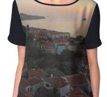 Sunset Over Greek Village Chiffon Top