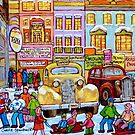 Taxi Stand Vintage Downtown Montreal Stores And Cars Montreal Memories Winter Scenes  by Carole  Spandau