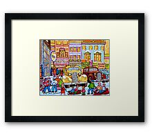 Taxi Stand Vintage Downtown Montreal Stores And Cars Montreal Memories Winter Scenes  Framed Print