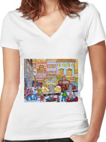 Taxi Stand Vintage Downtown Montreal Stores And Cars Montreal Memories Winter Scenes  Women's Fitted V-Neck T-Shirt
