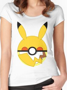 Pikachu Themed Poke Ball Women's Fitted Scoop T-Shirt