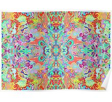 Compass Multi-colour Bold Organic Living Art Design Fractal Poster