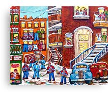 Laneway Hockey Denty Moore Diner Winter Staircase Montreal Memories Canadian Hockey   Canvas Print