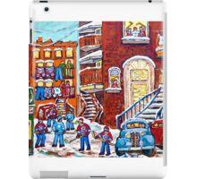Laneway Hockey Denty Moore Diner Winter Staircase Montreal Memories Canadian Hockey   iPad Case/Skin