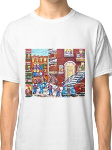 Laneway Hockey Denty Moore Diner Winter Staircase Montreal Memories Canadian Hockey   Classic T-Shirt