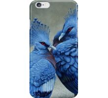 Victorian Crowned Pigeons, acrylic painting iPhone Case/Skin