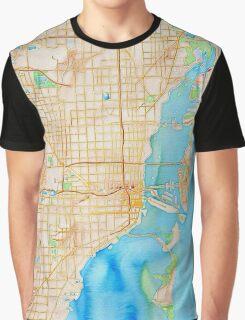 Watercolor map of Miami metropolitan area Graphic T-Shirt