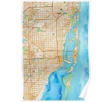 Watercolor map of Miami metropolitan area Poster