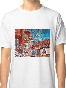Verdun Montreal Street Hockey Winding Staircase Winter City Scene Montreal Memories  Classic T-Shirt