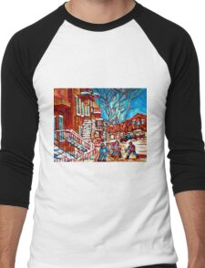 Verdun Montreal Street Hockey Winding Staircase Winter City Scene Montreal Memories  Men's Baseball ¾ T-Shirt
