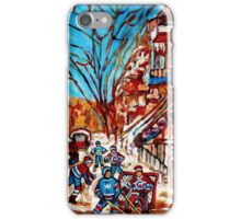 Street Hockey Painting Winter City Scene Verdun Montreal Staircase Canadian Art  iPhone Case/Skin