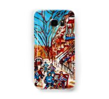 Street Hockey Painting Winter City Scene Verdun Montreal Staircase Canadian Art  Samsung Galaxy Case/Skin
