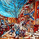 Street Hockey Painting Winter City Scene Verdun Montreal Staircase Canadian Art  by Carole  Spandau