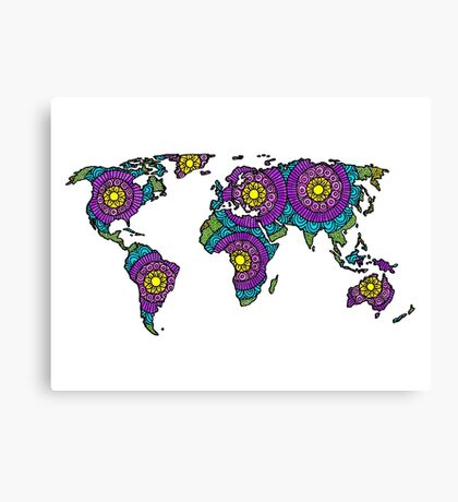 Tangled World Map Canvas Print