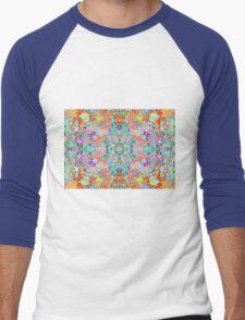 Compass Multi-colour Bold Organic Living Art Design Fractal Men's Baseball ¾ T-Shirt