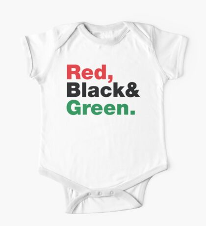 Red, Black & Green. One Piece - Short Sleeve