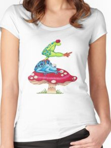 Leap Frog On a ToadStool Women's Fitted Scoop T-Shirt