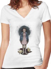 stranger things, Women's Fitted V-Neck T-Shirt