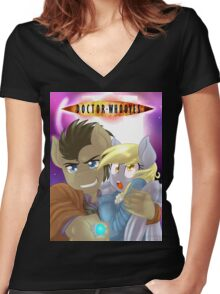 Doctor Whooves and Assistant  Women's Fitted V-Neck T-Shirt