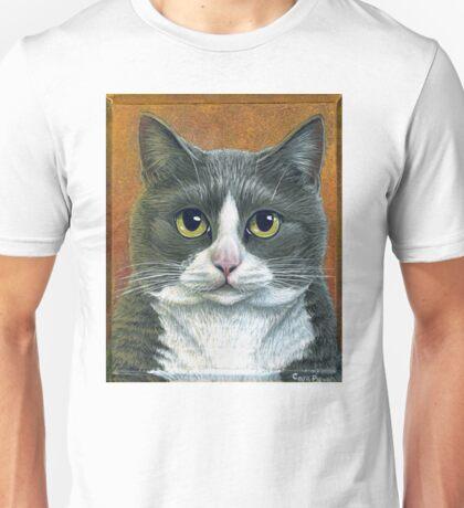 """Grey Tuxedo Cat painting """"Etna"""" Unisex T-Shirt"""