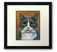 """Grey Tuxedo Cat painting """"Etna"""" Framed Print"""