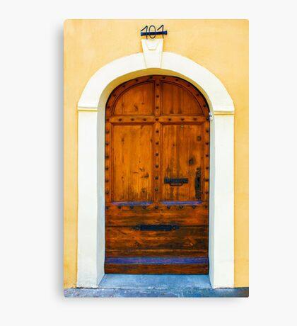 Vintage mahogany door in Bormes les Mimosas, France Canvas Print