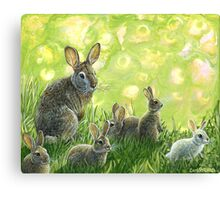 "Wild Rabbit painting, ""First Spring"" Canvas Print"
