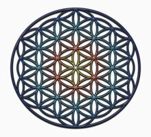 Flower of Life Sacred Geometry Symbol (yellow orange blue gradient) One Piece - Short Sleeve