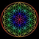 Flower of Life (rainbow) sacred geometry symbol  by Leah McNeir