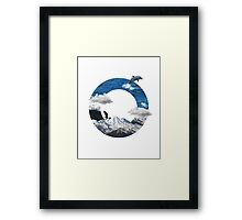 A circle of mountain and sea Framed Print