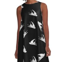 White Swallows Pattern A-Line Dress